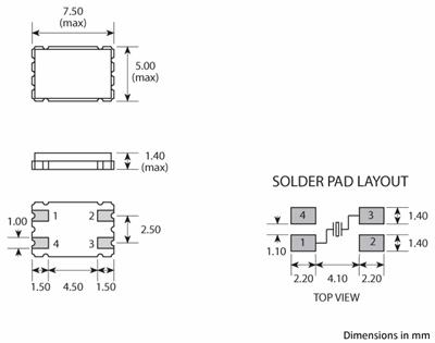 4-pad GSX-1B crystal