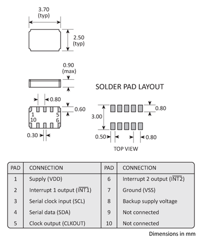 Package footprint and pad configuration drawing for the Golledge RV8523C3 Real Time Clock showing full dimensions.