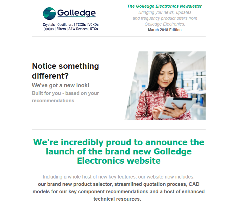 Download the Golledge Electroncis March 2018 edition announcing the launch of our brand new website.