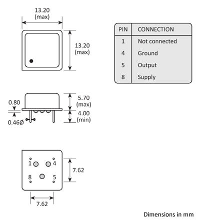 3 pin DIL leaded Golledge oscillator package drawing.