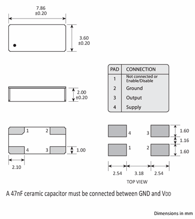 Package footprint and pad configuration drawing for the Golledge 7.9 x 3.6 x 2.2mm Oscillator
