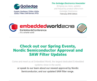 Just released - you can read the Golledge Electronics February 2018 newsletter here.