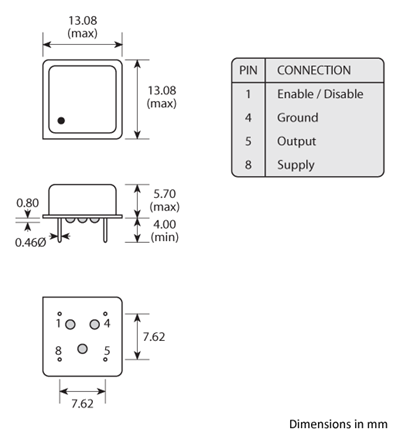 3 pin DIL leaded Golledge oscillator package with enable disable function drawing.