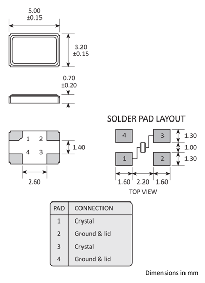 Package footprint and pad configuration drawing for the Golledge 5x3 Crystal showing full dimensions.