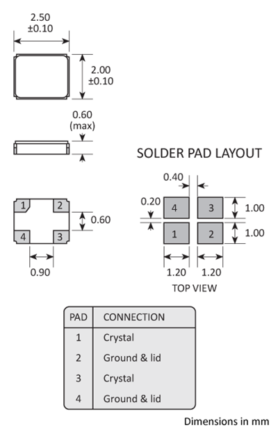 Package footprint and pad configuration drawing for the Golledge GSX-323 Crystal showing full dimensions.