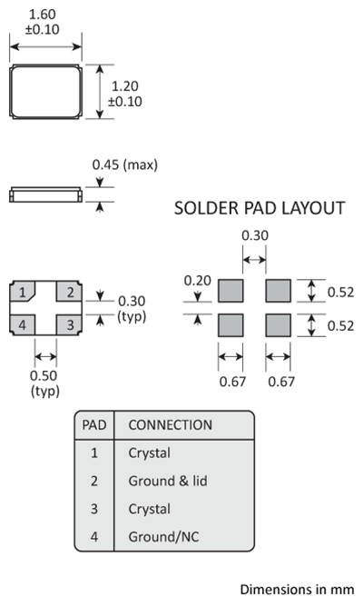 Package footprint and pad configuration drawing for the Golledge 1.6x1.2mm Crystal showing full dimensions.