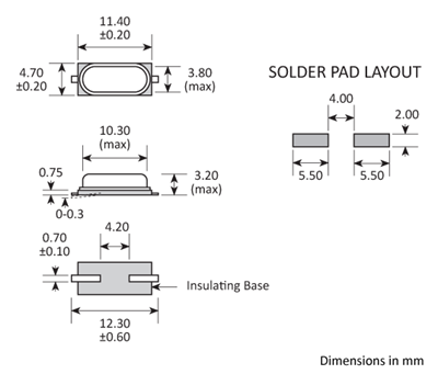 Package footprint and pad configuration drawing for the Golledge GSX49-3 Crystal showing full dimensions.