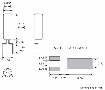 Package footprint drawing for the Golledge 2x6 SMD cylinder package