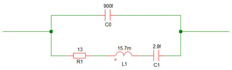 An example circuit showing the crystal electrical model.