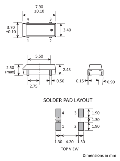 Package footprint and pad configuration drawing for the Golledge GSX-200 / GSX-250 Crystals showing full dimensions.