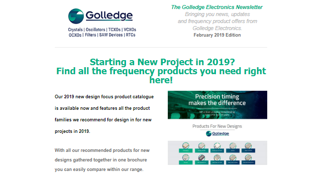Check out the Golledge Electronics February 2019 newsletter for updates on new products and the launch of our 2019 New Design Focus Catalogue