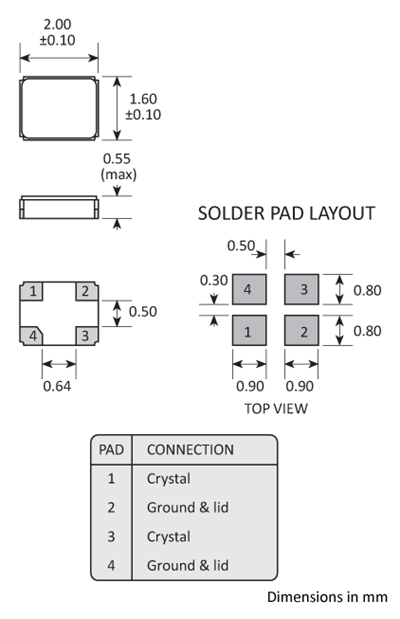 Package footprint and pad configuration drawing for the Golledge 2x1.6mm Crystal showing full dimensions.