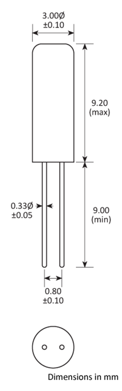 Package footprint and pad configuration drawing for the Golledge GCX-39 Crystal showing full dimensions.