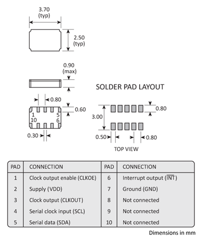 Package footprint and pad configuration drawing for the Golledge RV8564C3 Real Time Clock showing full dimensions.