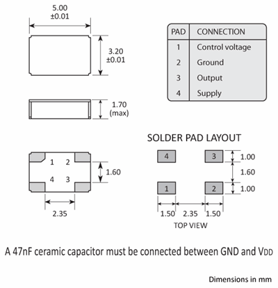 Package footprint and pad configuration drawing for the Golledge VCXO2EV VCXO showing full dimensions.