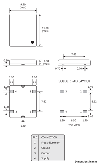 Package footprint and pad configuration drawing for a 10x12 Golledge TCXO showing full dimensions.