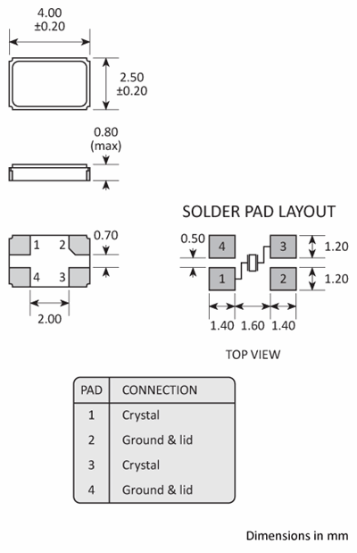 Package footprint and pad configuration drawing for the Golledge GSX-431 Crystal showing full dimensions.
