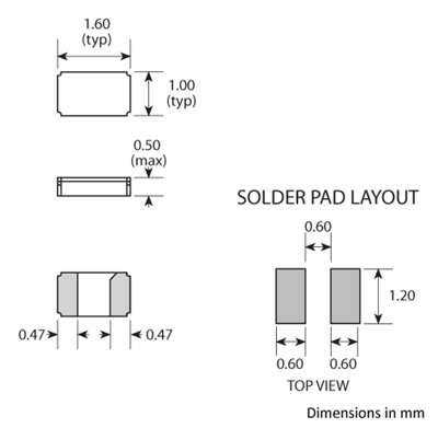 Package footprint and pad configuration drawing for the Golledge CM9V-T1A Crystal showing full dimensions.
