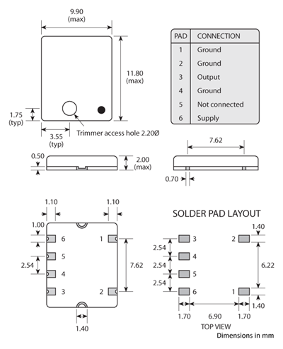 Package footprint and pad configuration drawing for the Golledge GTXO-566T TCXO showing full dimensions.