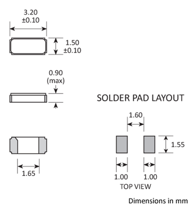Package footprint and pad configuration drawing for the Golledge GRX-315 / GRX-315 Crystal showing full dimensions.