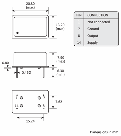 Package footprint and configuration drawing for Golledge DIL-14 TCXOs showing full dimensions.