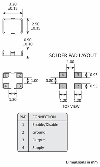 Golledge 3225 SM oscillator package