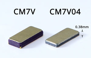 Comparison of the original CM7V watch crystal and teh new low-profile CM7V04 watch crystal with height of only 0.38mm.