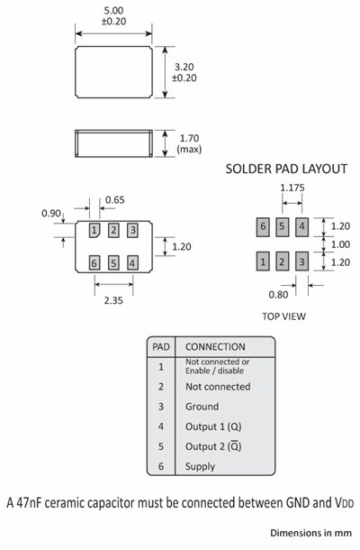 Package footprint and pad configuration drawing for the Golledge MCSO2L Oscillator showing full dimensions.