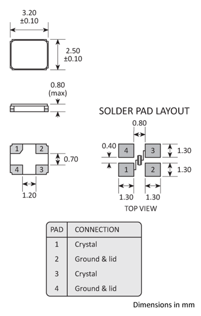 Package footprint and pad configuration drawing for the Golledge GSX-338 Crystal showing full dimensions.