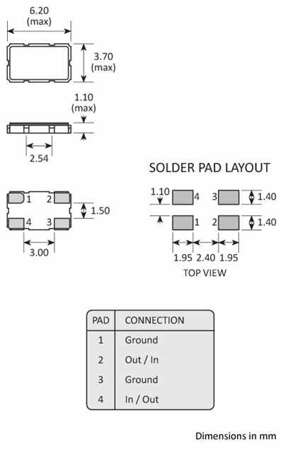 Package footprint and configuration drawing for a 6035 4-pad Golledge Crystal Filter showing full dimensions.