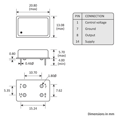 Package footprint and pad configuration drawing for the Golledge GVXO-44F VCXO showing full dimensions.