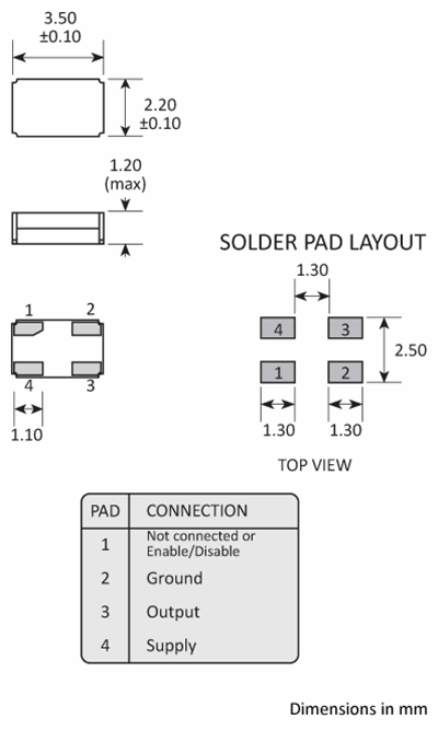 Golledge Package footprint and pad configuration drawing for the Golledge MCSO6 Oscillator