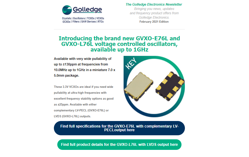 The Golledge Electronics February 2021 newsletter is available now.